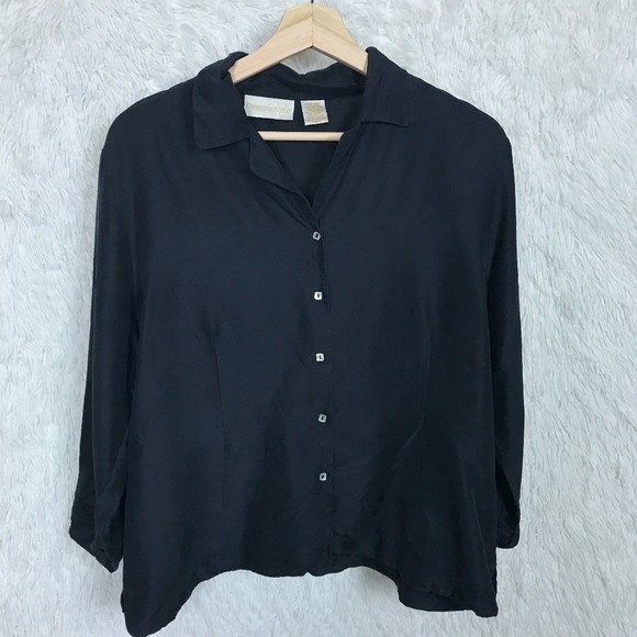 d1b0e60b Christie & Jill Tops - ⚡️Christie & Jill | Black Silk Button Down Shirt L